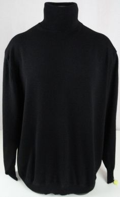 Barneys New York Mens XXL Turtleneck Sweater 100% Merino Wool Black LS Sharp #BarneysNewYork #Turtleneck