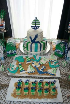 Nautical baby shower party! See more party planning ideas at CatchMyParty.com!