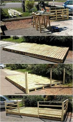 Creating a patio deck at home is not difficult because the pallets are not hard to find and they are easy to join to create almost anything. The deck is great to create for placing the furniture for enjoying the weather with the family on the holidays; Pallet Patio Decks, Pallet Porch, Pallet Home Decor, Wood Patio, Diy Deck, Backyard Patio, Backyard Landscaping, Garden Pallet, Pergola Diy