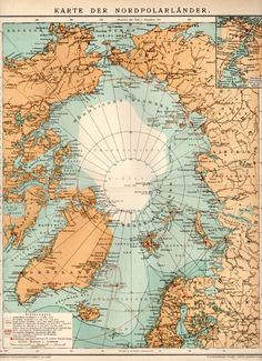 1898 Arctic Map Antique Print Vintage Lithograph by Craftissimo