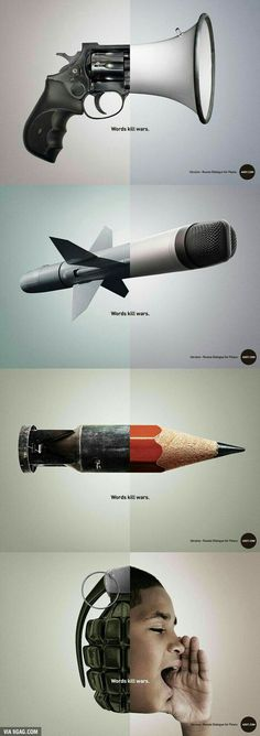 Excellent creative advertising against war. Words kill wars Intetemos talk and not destroy each other because they always innocent fall by the wayside. Creative Advertising, Advertising Design, Ads Creative, Advertising Campaign, Social Advertising, Guerrilla Marketing, Street Marketing, Creative Ideas, Advert Design