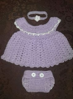 Crocheted Baby Dress, Diaper Cover and headband set 18-24 months lavender