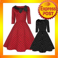 RK58 Rockabilly Polka Dot Parisian Swing Dress Black Red 50s Retro Pin Up Plus | eBay