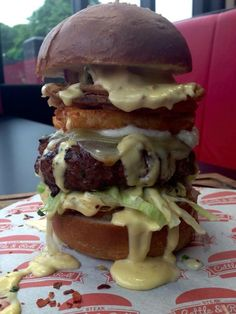 Special - 5 Cheese please - 8oz Beef burger with crispy onions, cheddar, Swiss,mozzarella, halloumi & cheese sauce :)