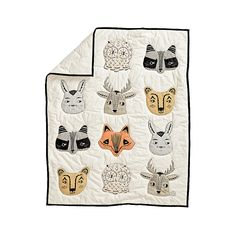 A crew of fanciful forest critters makes our Roxy Marj Woodland Animal Baby Quilt stand apart from the pack. The print features foxes, raccoons, bunnies, deer and more. Crib Bedding Boy, Cute Bedding, Bedding Sets, Baby Quilt Size, Baby Quilts, Kid Quilts, Woodland Animal Nursery, Woodland Animals, Woodland Baby Bedding