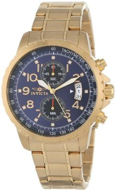 Men's Wrist Watches - Invicta Mens 13785 Specialty Chronograph Dark Blue Dial 18k Gold IonPlated Stainless Steel Watch *** More info could be found at the image url.