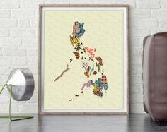 Philippines Map,Philippines Art Print Poster Wall Decor, Manila Wall Art, Urban Map Art Giclee Art Print Travel Art, Abstract Art AVAILABLE @ $15