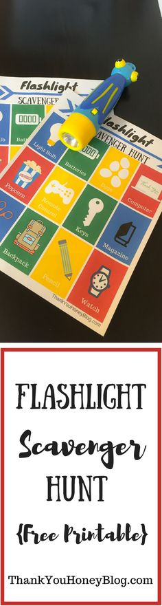 Flashlight Scavenger Hunt {Free Printable}. Find more fabulous kids activities and craft ideas on my Pinterest boards. Follow ThankYouHoneyBlog.com for more great ideas. family, Flashlight Scavenger Hunt, fun, games, Indoor Games, Printable, rainy day, summer