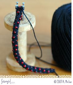 spool knitting with beads....OMG! Used to do this as a kid!