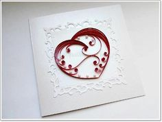 handmade Valentine quilling card ... sweet and simple design ... white with red…