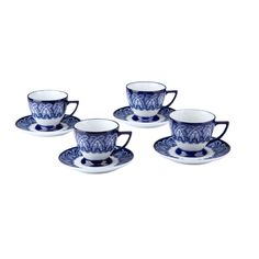 Tea for four? Bombay's Tile Teacups & Saucers complete the service when matched with Bombay's blue and white Tile Teapot. Delicate shape and handle make teatime a treat, anytime.