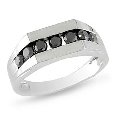Black Diamond | Miadora 10 K White Gold 1ct Black Diamond Men's Ring, Rings | Walmart ...