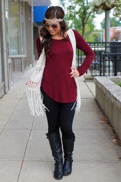 Natural Crochet Fringe Vest #boho #fallfashion | uoionline.com: Women's Clothing Boutique
