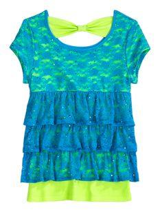 Tiered Lace 2fer Top   Short Sleeve   Tops & Tanks   Shop Justice  I WANT THAT-I want either a lace, or a bow-back shirt like that for my birthday!! (hint hint-carly {sister} who looks on my pinterest)