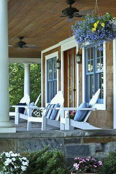 Need inspiration for that lake house / cottage porch? Outdoor Rooms, Outdoor Living, Outdoor Furniture, Gazebos, Lakeside Cottage, Coastal Cottage, Home Porch, Cottage Porch, Cottage Exterior