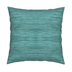 Catalan Throw Pillow featuring Grasscloth Fabric and Wallpaper in Aquamarine by willowlanetextiles   Roostery Home Decor