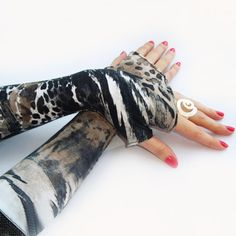 Safari Fingerless gloves  arm warmers  mittens with  by WearMeUp, $18.50