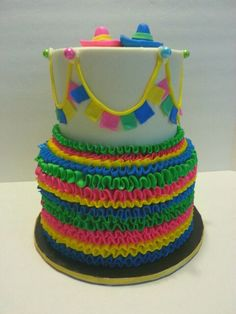 Ruffles Pinata themed cake. Www.facebook.com/clairescutecakes