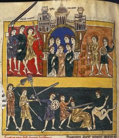 Jerusalem / Death of the two witnesses, Rylands Beatus Commentary on the Apocalypse by Beatus of Liébana, copy of c.1175, Spain