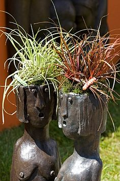 "I love unique planters. Here's a pair of ""naked lady planters"". Container Gardening Ideas"