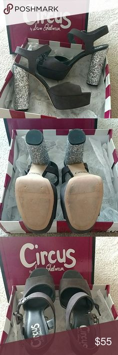 Sam Edelman Circus Heels Cosmo heel in dark shadow grey. Worn once. So comfortable, I just don't have enough outfits to match! Comes in original box. Practically new condition. Sam Edelman Shoes Platforms