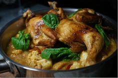 Tom Yum Cauliflower with green curry roasted chicken.