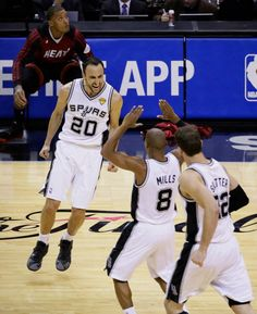 San Antonio Spurs guard Manu Ginobili guard Patty Mills and center Tiago  Splitter celebrate against the Miami Heat during the second half in Game 5  of the ... ecd5d2926