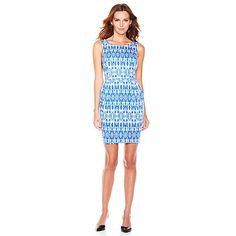 G by Giuliana Rancic Ikat Print Princess Seam Dress #ClassicBlueIkat