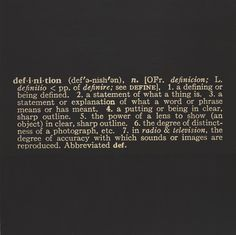 "Joseph Kosuth. Titled (Art as Idea as Idea) The Word ""Definition"". 1966-68"