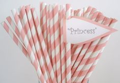 of course I needed these!    25 Soft PINK STRIPE Paper StrawsWith DIY by DimeStoreBuddy on Etsy, $4.00
