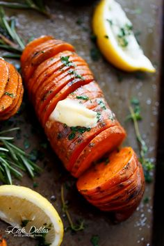 Hasselback Herbed Garlic Butter Sweet Potatoes | http://cafedelites.com