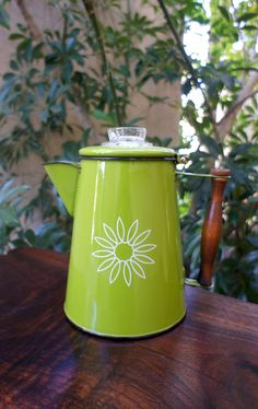 Green Vintage Enamelware Coffee Pot