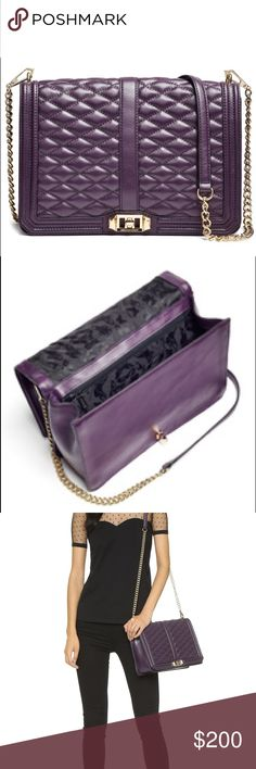 Rebecca Minkoff Aubergine Love Jumbo Bag Barely used rebeccca minkoff aubergine love jumbo bag! Crossbody with gold chain. Pretty deep purple color and easy to close. Great size for a large crossbody Rebecca Minkoff Bags