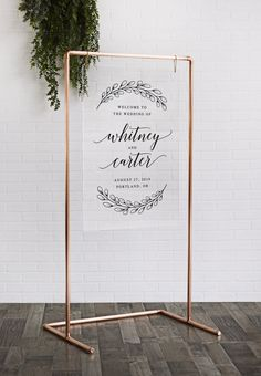Copper Wedding Frame - Acrylic Welcome Sign with Copper Stand - Wedding Backdrop - Wedding Frames, Diy Wedding, Rustic Wedding, Wedding Day, Copper Wedding Decor, Decoration Buffet, Rose Gold Frame, Wedding Welcome Signs, Wedding Signage