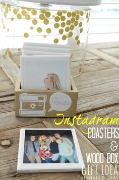 instagram coaster and wood box gift idea at tatertots and jello Instagram, mod podge and dimensional magic to spruce up Nik's ugly coasters