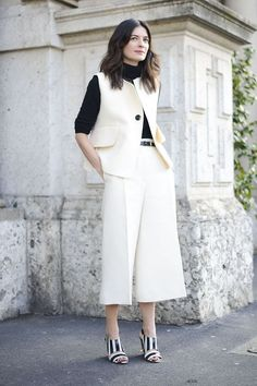 Black Turtleneck + White Culottes + Matching White Vest + Black-and-White Heels