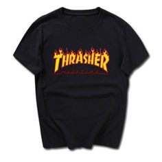 Trasher T-shirt (335 ARS) ❤ liked on Polyvore featuring tops, t-shirts, cotton t shirt and cotton tee