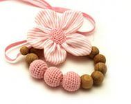 floral crochet flowers — Yandex.Images – Crochet Pink Flower Wooden Nursing Necklace - This trendy necklace is