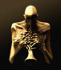 interpretation of Zdzisław Beksiński 's painting. Apocalypse Landscape, Human Body Structure, Hr Giger Art, Mental Health Art, Horror Monsters, Macabre Art, Monster Design, Sombre, Creepy Art