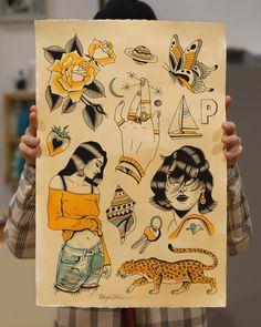 Color Tattoos, Doodle Tattoo, Traditional Tattoos, Dope Art, Female Bodies, Tatoos, Old School, Tatting, Piercings
