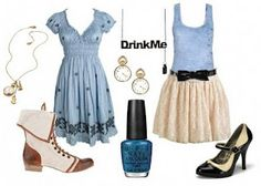 Alice in Wonderland-Inspired Outfit: Alice - light blue color, pumps and cute boots, and vintage style. Bows! Black bows!