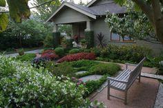 When David Morello bought his bungalow, a lone pittosporum stood sentinel… Bungalow Exterior, Craftsman Bungalows, Lush Garden, Home And Garden, Houston Garden, Exterior Paint Schemes, Natural Flooring, Craftsman Style, Craftsman Homes
