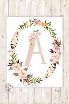 Boho Baby Monogram Initial Personalized Wall Art Print Initials Birth Announcement Gift Watercolor Woodland Floral Rustic Baby Nursery Home Printable Decor Baby Shower Boho, Boho Baby, Baby Monogram, Monogram Initials, Girl Nursery, Nursery Decor, Nursery Ideas, Rustic Baby Nurseries, Pink Forest