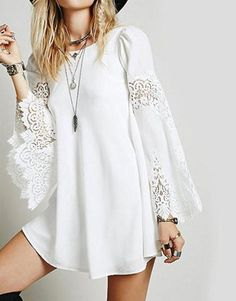Material: Polyester,Spandex Style: Casual Silhouette: A-Line Pattern Type: Solid Sleeve Length(cm): Full Decoration: Hollow Out Dresses Length: Above Knee, Mini Sleeve Style: Petal Sleeve Waistline: Natural Neckline: O-Neck