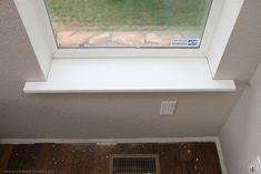 Home improvement: trimming a window (replacing the sill & apron, adding side/top molding) Window Sill Trim, Interior Window Sill, Kitchen Window Sill, Window Casing, Window Ledge, Interior Windows, Window Frames, Window Treatments, Basement Windows