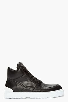 KRISVANASSCHE Black Leather Perforated Sport Sneakers $960.00 thestylecure.com