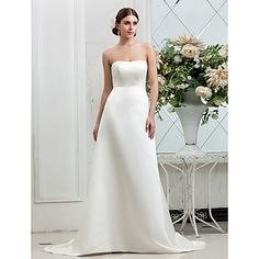 A-line Strapless Sweep/Brush Train Buttons Satin Wedding Dress – EUR € 105.59