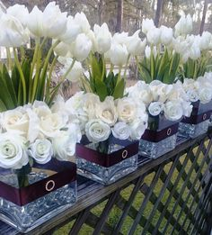 Ivory Tulips Ivory Roses Wedding Centerpiece by SilkFlowersByJean, $90.00