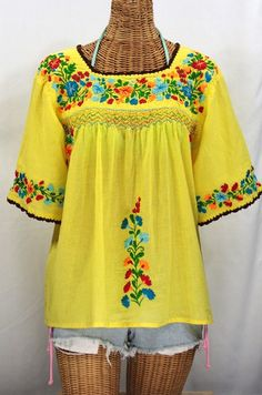 """""""La Marina"""" Embroidered Mexican Blouse -Yellow + Brown Trim + Fiesta Embroidery #bohemian #hippie #summer #fashion"""