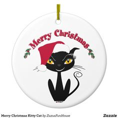 Merry Christmas Kitty Cat Double-Sided Ceramic Round Christmas Ornament • Terry from NJ, Thank you for your purchase!   •   This design is available on t-shirts, hats, mugs, buttons, key chains and much more   •   Please check out our others designs at: www.zazzle.com/ZuzusFunHouse*